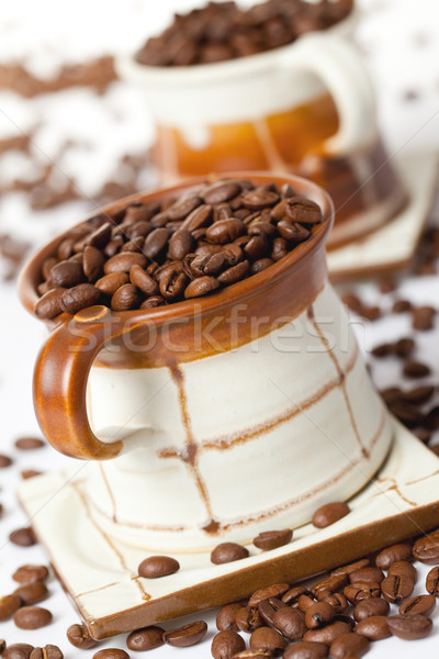 Stockfoto: Koffiebonen · keramische · beker · foto · shot · restaurant
