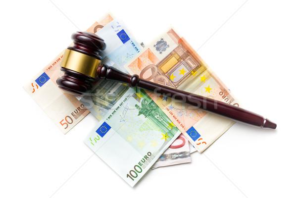 Stock fotó: Bíró · kalapács · Euro · számlák · felső · kilátás