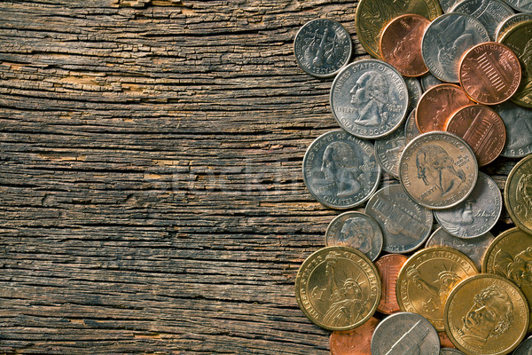U.S. coins on old wooden background Stock photo © jirkaejc