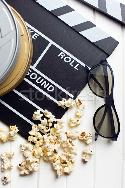 clapperboard with 3d glasses and popcorn Stock photo © jirkaejc