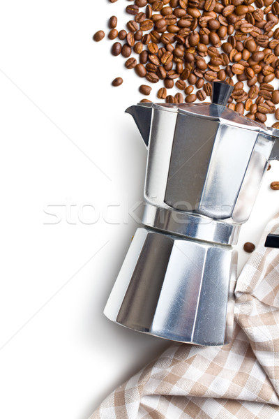 Italiaans koffiezetapparaat top koffiebonen servet Stockfoto © jirkaejc