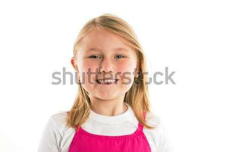 Stock foto: Kleines · Mädchen · fehlt · Zähne · Gesicht · Milch · Mund