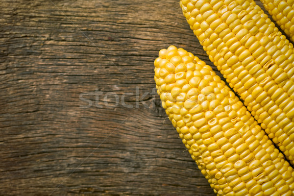 sweet corn on wooden table Stock photo © jirkaejc