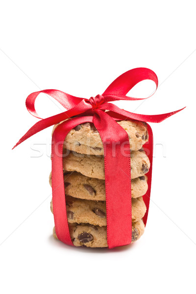 Stock photo: chocolate cookies with red ribbon