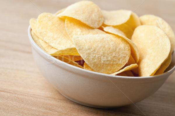 Batatas fritas tigela foto tiro fundo almoço Foto stock © jirkaejc