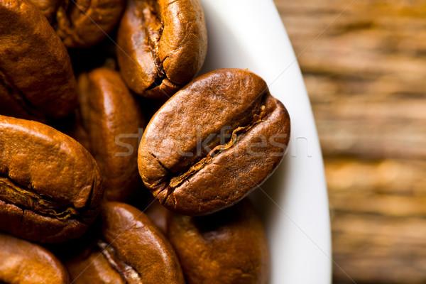 ストックフォト: コーヒー豆 · 先頭 · 表示 · ボウル · 木材 · コーヒー