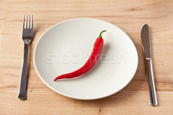 red chili pepper on plate Stock photo © jirkaejc
