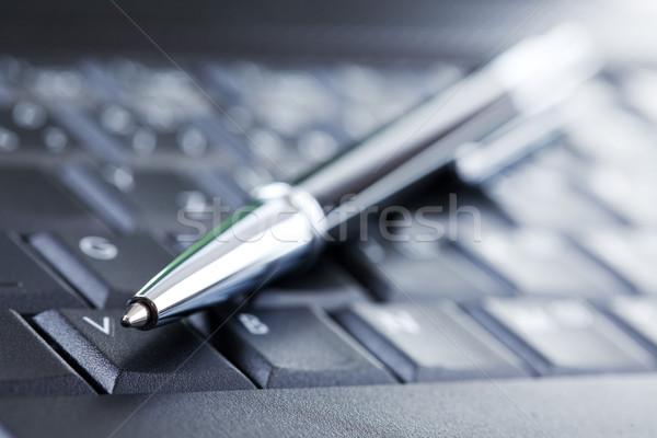 Stock foto: Luxus · schwarz · Stift · Computer-Tastatur · Büro · Sitzung
