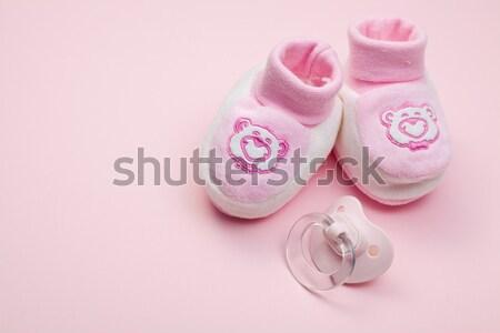 ピンク ベビーシューズ 白 少女 歳の誕生日 靴 ストックフォト © jirkaejc