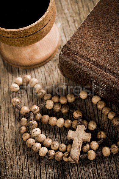 wooden rosary and the Bible Stock photo © jirkaejc