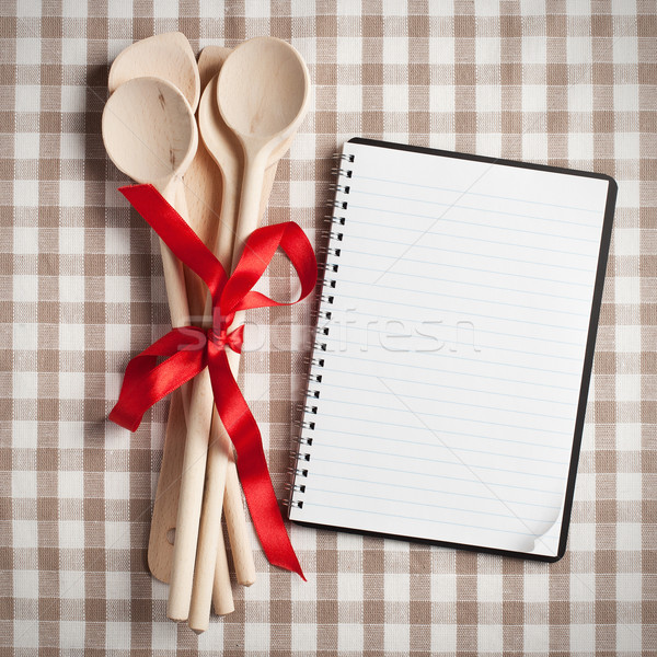 kitchen utensil with blank recipe book Stock photo © jirkaejc