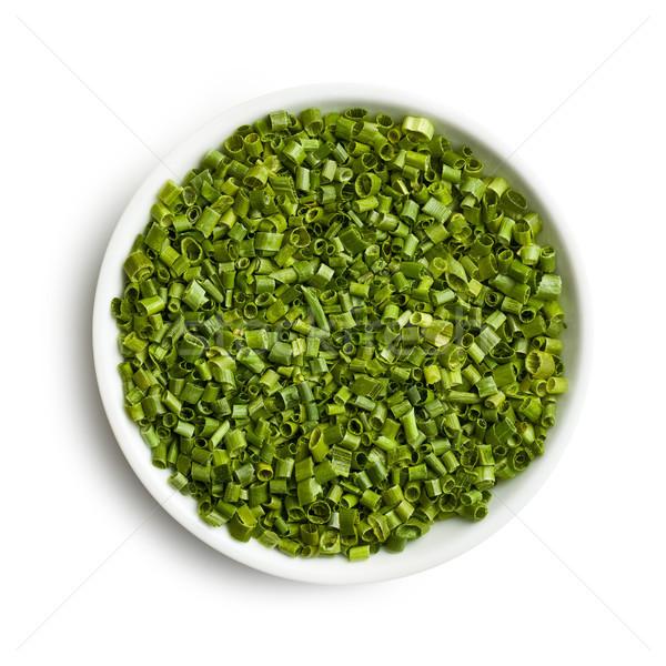 Erba cipollina ceramica ciotola salute sfondo verde Foto d'archivio © jirkaejc