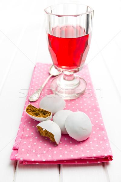 Wisienką piernik herbaty różowy serwetka żywności Zdjęcia stock © jirkaejc