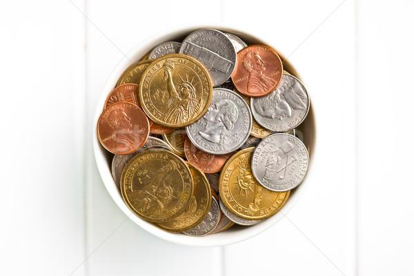U.S. coins in ceramic bowl Stock photo © jirkaejc