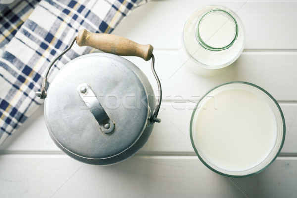 milk in glass and can of milk Stock photo © jirkaejc