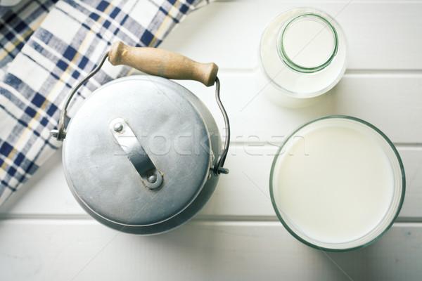Tej üveg konzerv felső kilátás étel Stock fotó © jirkaejc