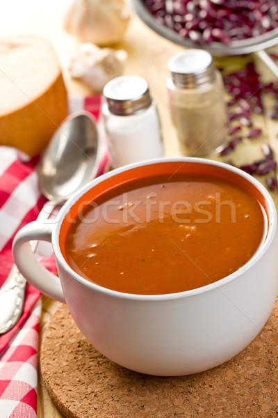 Soupe aux haricots table de cuisine alimentaire cuisine dîner plat Photo stock © jirkaejc