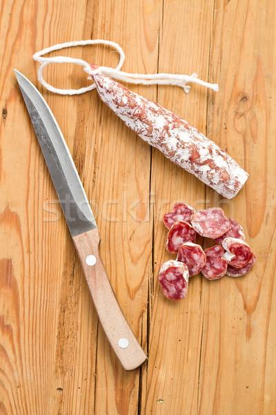 Witte salami worst keukentafel koe varken Stockfoto © jirkaejc