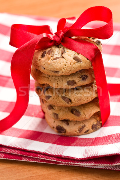 chocolate cookies with red ribbon Stock photo © jirkaejc