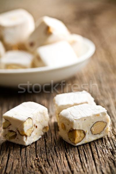 white nougat with almonds  Stock photo © jirkaejc