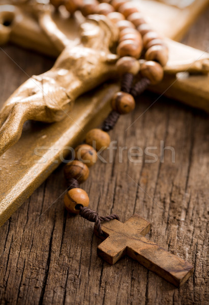 Wooden rosary beads and crucifix Stock photo © jirkaejc