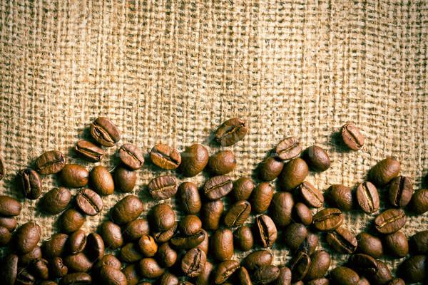 コーヒー豆 黄麻布 テクスチャ 背景 フレーム カフェ ストックフォト © jirkaejc
