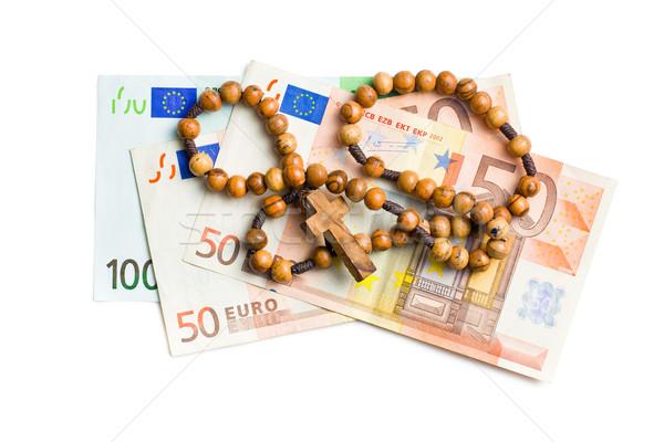 Rozenkrans euro witte achtergrond bidden Stockfoto © jirkaejc