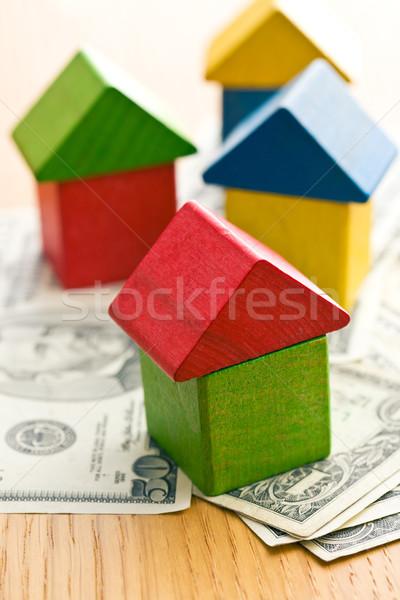 Ház fa játék kockák dollár kék játék Stock fotó © jirkaejc