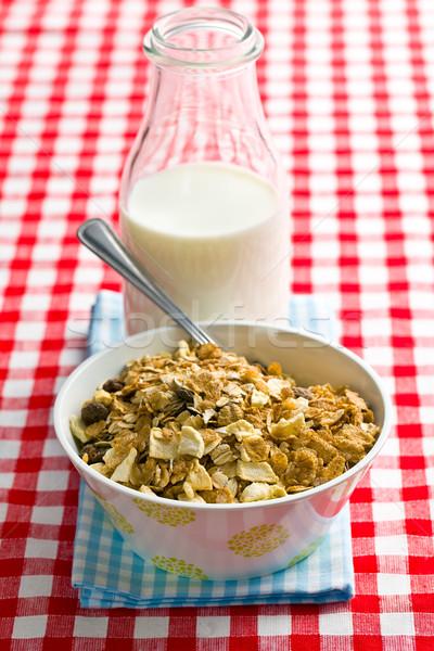 Muesli latte tovaglia alimentare colazione Foto d'archivio © jirkaejc