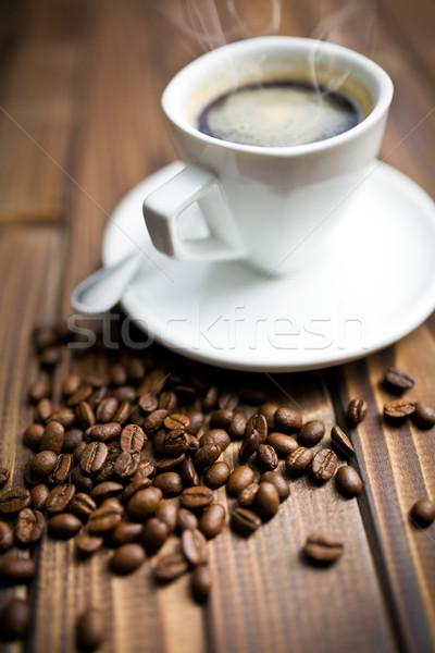 черный кофе белый Кубок деревянный стол пить черный Сток-фото © jirkaejc