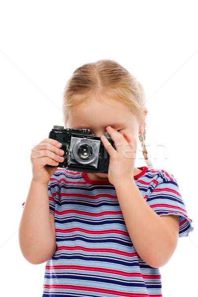 Little girl with old camera. Stock photo © jirkaejc