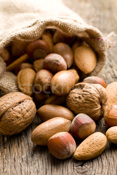 various nuts in jute sack Stock photo © jirkaejc