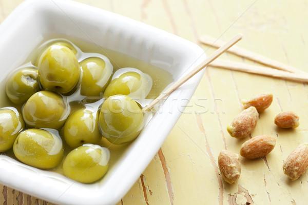 Stockfoto: Groene · olijven · keramische · kom · oude · tabel