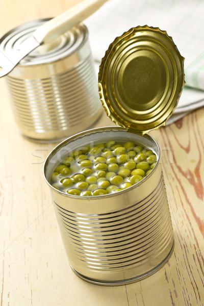 Dobozos zöld zöldborsó nyitva konzervdoboz konzerv Stock fotó © jirkaejc