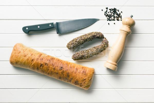 ソーセージ ナイフ コショウひき 先頭 表示 食品 ストックフォト © jirkaejc