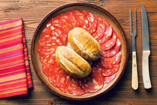 Szeletel chorizo szalámi tányér étel hús Stock fotó © jirkaejc