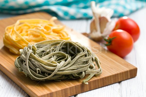 İtalyan makarna tagliatelle mutfak masası gıda akşam yemeği Stok fotoğraf © jirkaejc