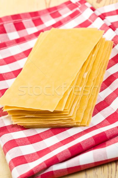 Lasagne tavolo da cucina sfondo foglio tela italiana Foto d'archivio © jirkaejc