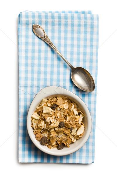 Muesli tazón plata cuchara blanco alimentos Foto stock © jirkaejc