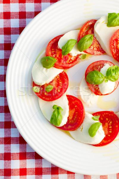 Caprese salatası beyaz plaka fotoğraf atış yaprakları Stok fotoğraf © jirkaejc