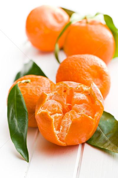 fresh mandarin with green leaves Stock photo © jirkaejc