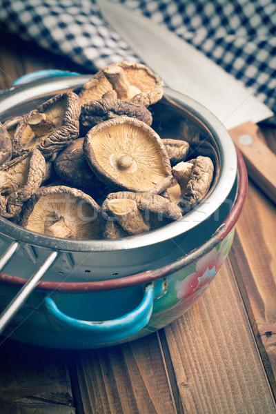 Stock photo: dried shiitake mushrooms in colander