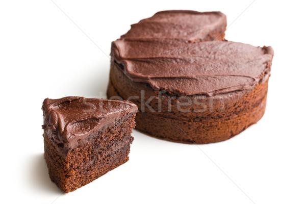 étcsokoládé torta fehér születésnap csokoládé háttér Stock fotó © jirkaejc