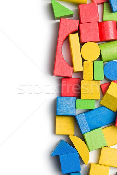 Fa játék kockák fehér építkezés oktatás kék Stock fotó © jirkaejc