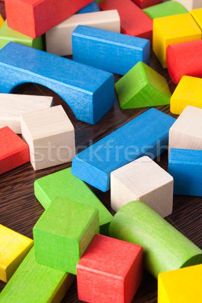 Fa játék kockák fa asztal fa zöld kék Stock fotó © jirkaejc