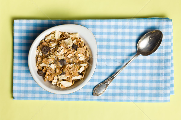 Müzli kerámia tál felső kilátás étel Stock fotó © jirkaejc