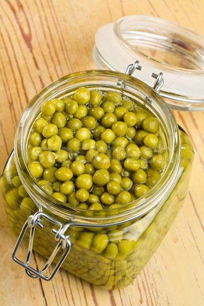 Stockfoto: Groene · erwten · glas · jar · voedsel