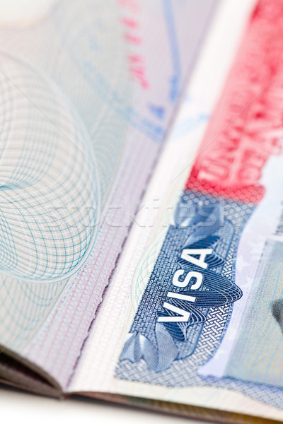 Macro coup visa passeport page fond Photo stock © jirkaejc