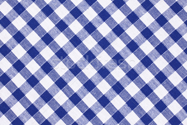 Schachbrettartig Tischdecke Foto erschossen blau Textur Stock foto © jirkaejc