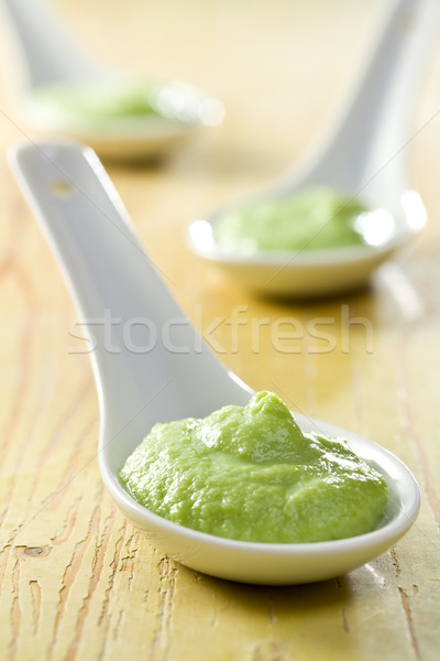 Stockfoto: Groene · wasabi · keramische · lepel · voedsel · gezondheid